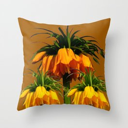 CARAMEL COLOR YELLOW CROWN IMPERIAL FLOWERS Throw Pillow