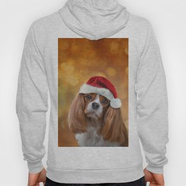 Drawing Dog breed Cavalier King Charles Spaniel  in red hat of Santa Claus Hoody