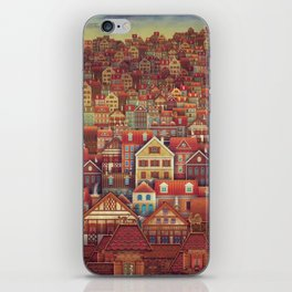 Cute City Street Scene ,Many Houses iPhone Skin