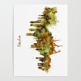 Boston watercolor skyline Poster