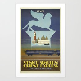 London, Paris, Venice - Venice Simplon Orient Express - Vintage Train Travel Poster Art Print