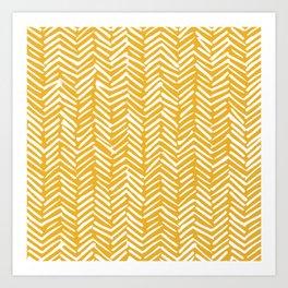 Boho Mudcloth Pattern, Summer Yellow Art Print