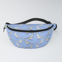 Ravens. The pattern of the diagonal contours of crows, white on a blue background Fanny Pack