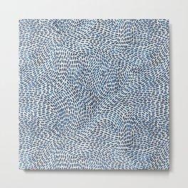 Abstract Ink Brush Stroke Pattern - Blue/white Metal Print