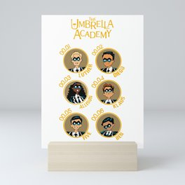 UMBRELLA ACADEMY CARTOON ALL CHARACTERES (YELLOW) Mini Art Print
