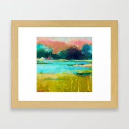 Lime and Turquoise Framed Art Print
