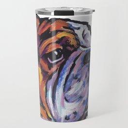 Fun English Bulldog Dog Portrait bright colorful Pop Art Painting by LEA Travel Mug