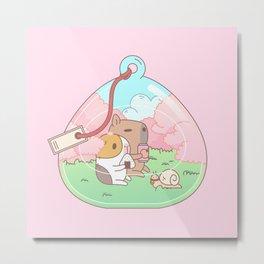 Bubu the Guinea pig, Cherry Blossom Terrarium Metal Print