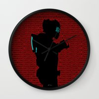 dead space Wall Clocks featuring Isaac - Dead Space by Leamartes