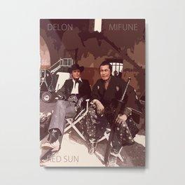 Delon  - Mifune - Red Sun, Western-Samurai Classic Metal Print