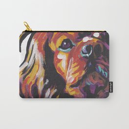 Ruby Cavalier King Charles Spaniel Dog Portrait Pop Art painting by Lea Carry-All Pouch