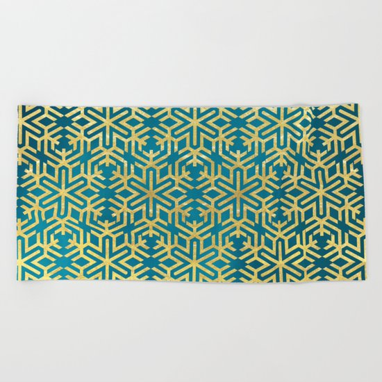 Turquoise and Gold Snowflake Pattern Beach Towel