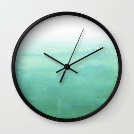 Modern hand painted green teal aqua watercolor ombre motif Wall Clock