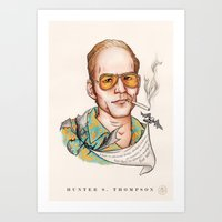 hunter s thompson Art Prints featuring Hunter S Thompson - Quote by Sally Ridge