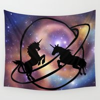 unicorns Wall Tapestries featuring Space Unicorns by haroulita