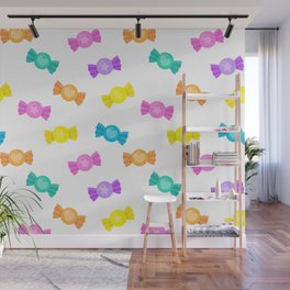Cute Rainbow Candy Shop Pattern – Pastel Colors Wall Mural