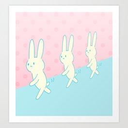 walking rabbits. Art Print