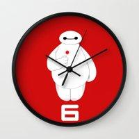 big hero 6 Wall Clocks featuring Big Hero 6 - Baymax by brit eddy