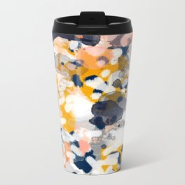 Stella - Abstract painting in modern fresh colors navy, orange, pink, cream, white, and gold Metal Travel Mug