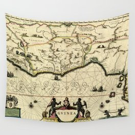 Map Of Guinea 1638 Wall Tapestry