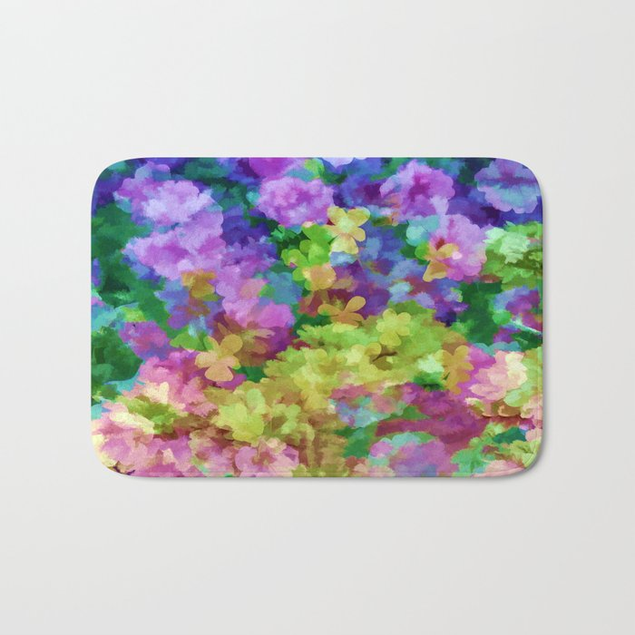 Watercolor Garden Flowers Bath Mat