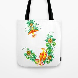Abstract birds of paradise on floral branches Tote Bag