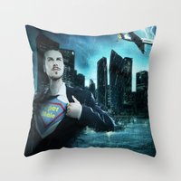super heroes Throw Pillows featuring Heroes by Nessendyl