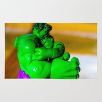 dad Area & Throw Rugs featuring Superhero Dad by Imagination Framed