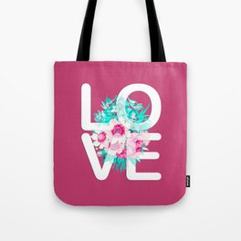 Elegant Floral Love Typography Tote Bag