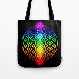 Flower of Life with Chakras Tote Bag