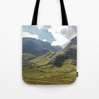 scotland Tote Bags featuring Scotland Hills by Shelly Navarre
