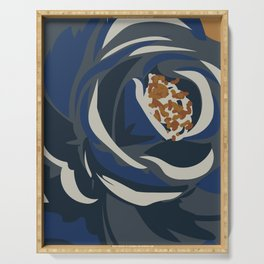 Floral Abstract Navy Serving Tray