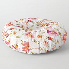 Hygge Watercolor Midsummer Dogroses Pattern  Floor Pillow
