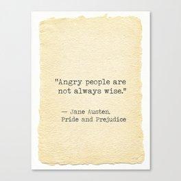 Jane Austen quote Pride and Prejudice Canvas Print