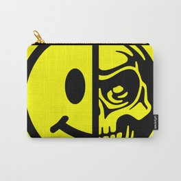 Smiley Face Skull Yellow Carry-All Pouch