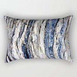 Gray Beige Blue Jagged Rock Stripes Rectangular Pillow