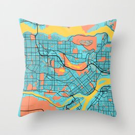 Burnaby - Canada Gloria City Map Throw Pillow