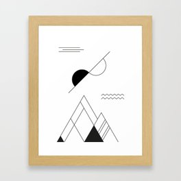 Black & White Geometric Landscape Framed Art Print