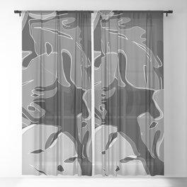 monstera black Sheer Curtain