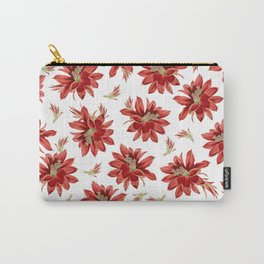 Red Christmas Cactus Flowers Floral Pattern Carry-All Pouch
