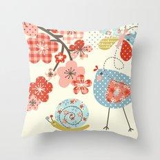 Spring Birdie Throw Pillow