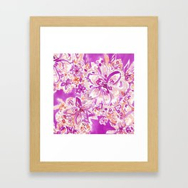GOOD VIBES Wild Pink Watercolor Floral Framed Art Print