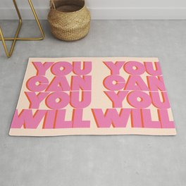 You Can You Will Bold Motivational Typography on Light Beige Background | Text Art Rug