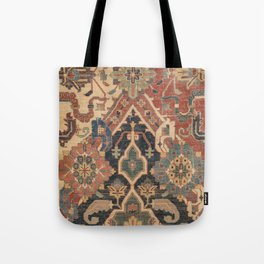 Geometric Leaves I // 18th Century Distressed Red Blue Green Colorful Ornate Accent Rug Pattern Tote Bag