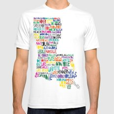 Louisiana Typography SMALL White Mens Fitted Tee