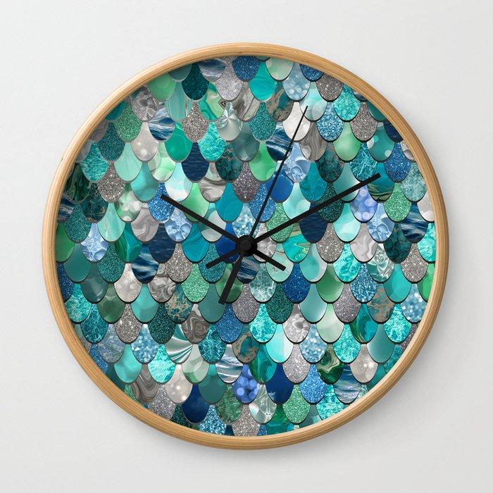 Mermaid Pattern, Sea,Teal, Mint, Aqua, Blue Wall Clock