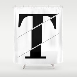 """""""Sliced Collection"""" - Minimal Letter T Print Shower Curtain"""