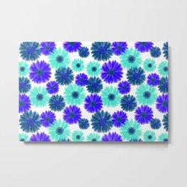 Aqua Purple Blue Sunflowers Gerbera Daisy Bold Flower Pattern on White Metal Print