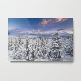 """Mountain light"". Snowy forest at sunset Metal Print"