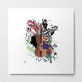 Grunge violin with floral Metal Print